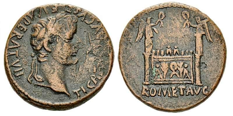 Tiberius, as Caesar, Ć Semis. 12-14 AD. Lugdunum mint. TI